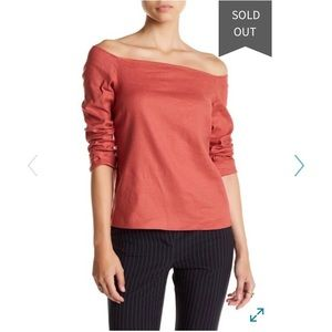 NWT Theory Aprine Off the Shoulder Linen Blouse M